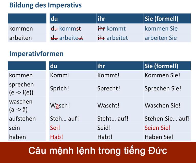 Câu mệnh lệnh trong tiếng Đức