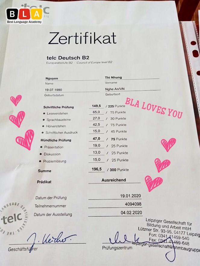 Nhiều bạn trẻ đã đạt được kết quả cao trong các kỳ thi tiếng Đức quan trọng và sang Đức làm việc.
